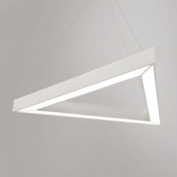 Custom Triangle Pendant shown with opaque D61 MT White shade and F11 Powder Coat White frame finish.