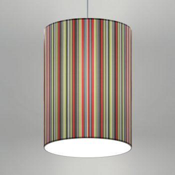 LLI chose Lumetta's Custom Drum Pendants in a multi-colored vertical stripe, custom diffuser and powder coat chrome finish.