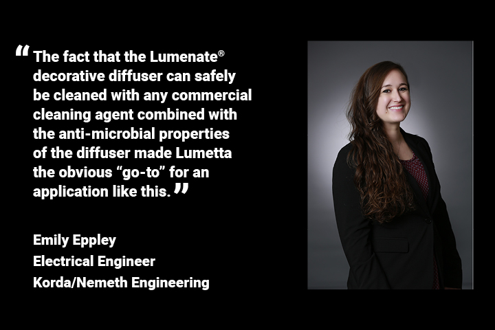 Lumetta's antimicrobial Lumenate® commercial lighting diffusers can be safely cleaned with any commercial cleaning agent.